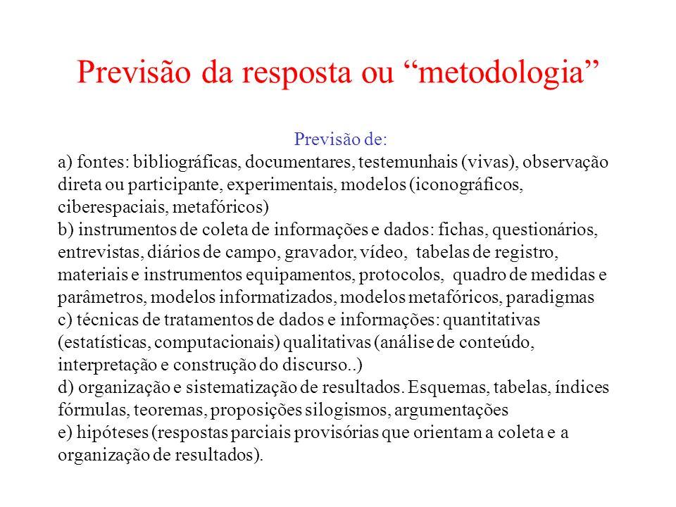 Previsão da resposta ou metodologia