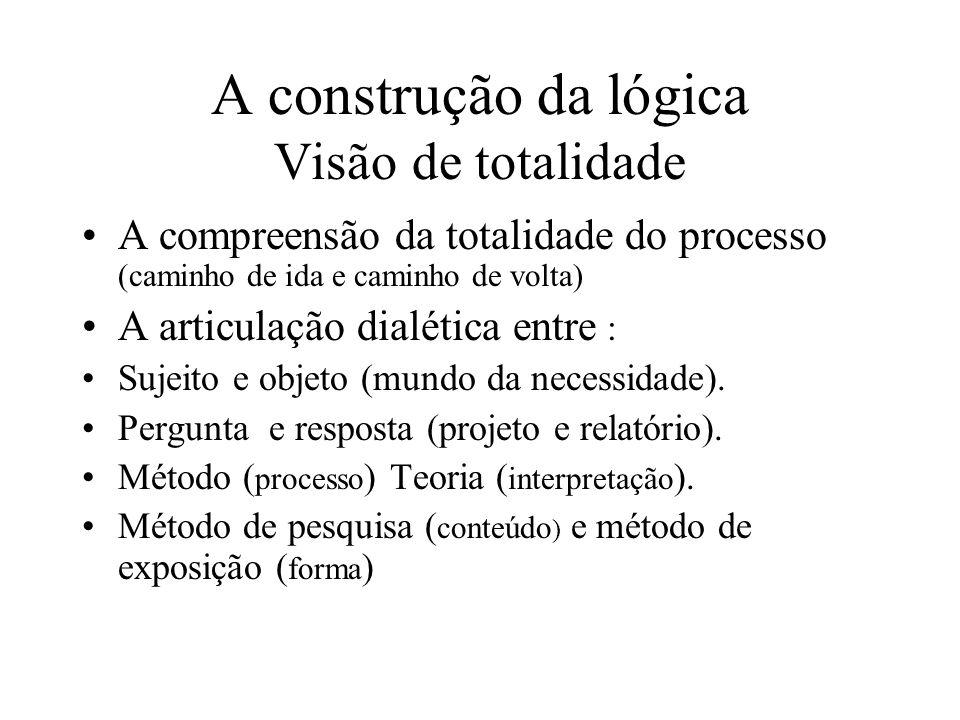 A construção da lógica Visão de totalidade