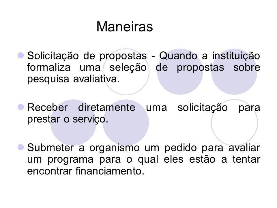 Maneiras Solicitação de propostas - Quando a instituição formaliza uma seleção de propostas sobre pesquisa avaliativa.