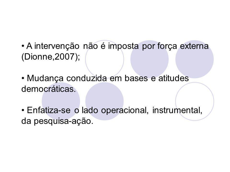 A intervenção não é imposta por força externa (Dionne,2007);