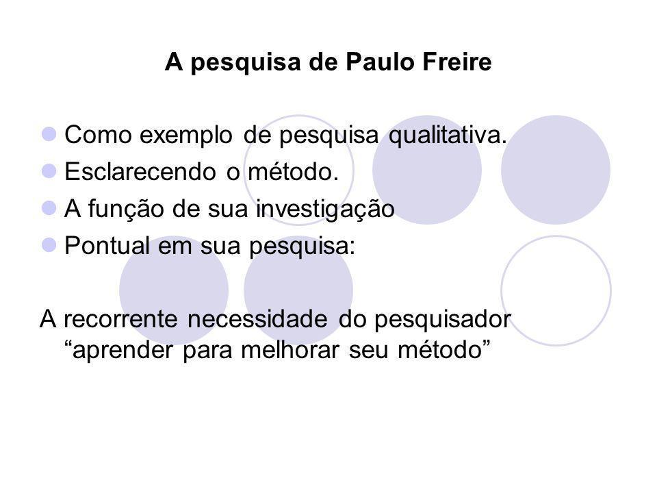 A pesquisa de Paulo Freire