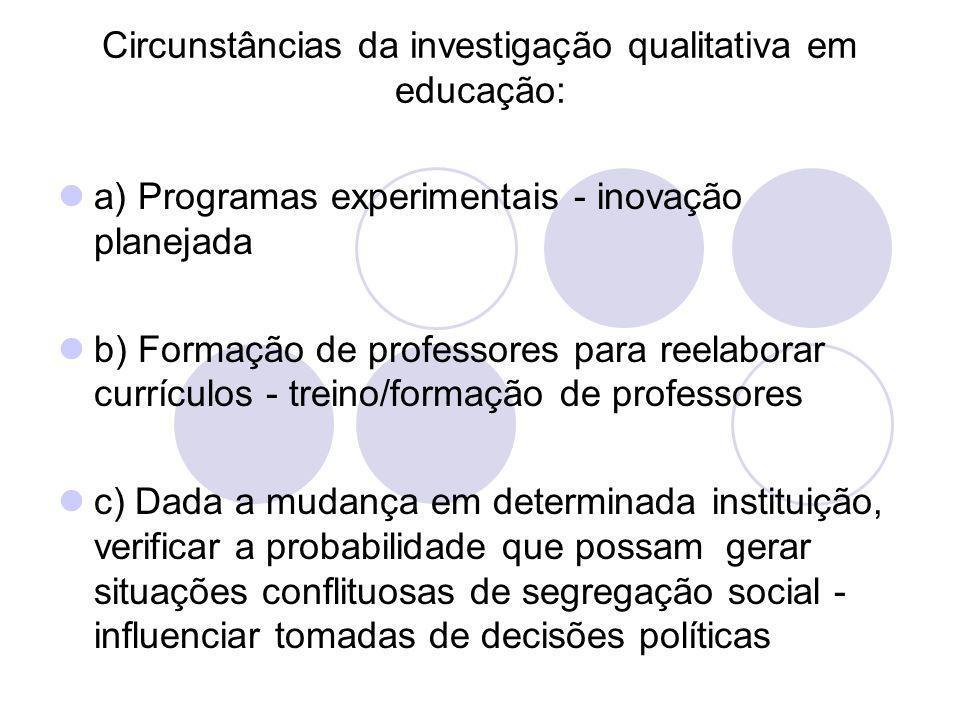 Circunstâncias da investigação qualitativa em educação: