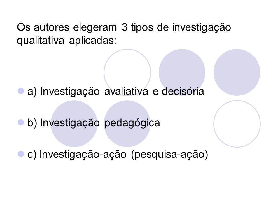 Os autores elegeram 3 tipos de investigação qualitativa aplicadas: