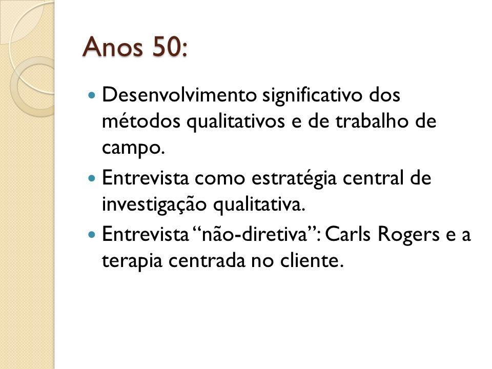 Anos 50: Desenvolvimento significativo dos métodos qualitativos e de trabalho de campo.