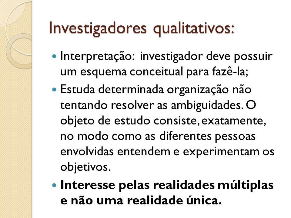 Investigadores qualitativos: