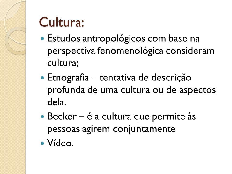 Cultura: Estudos antropológicos com base na perspectiva fenomenológica consideram cultura;