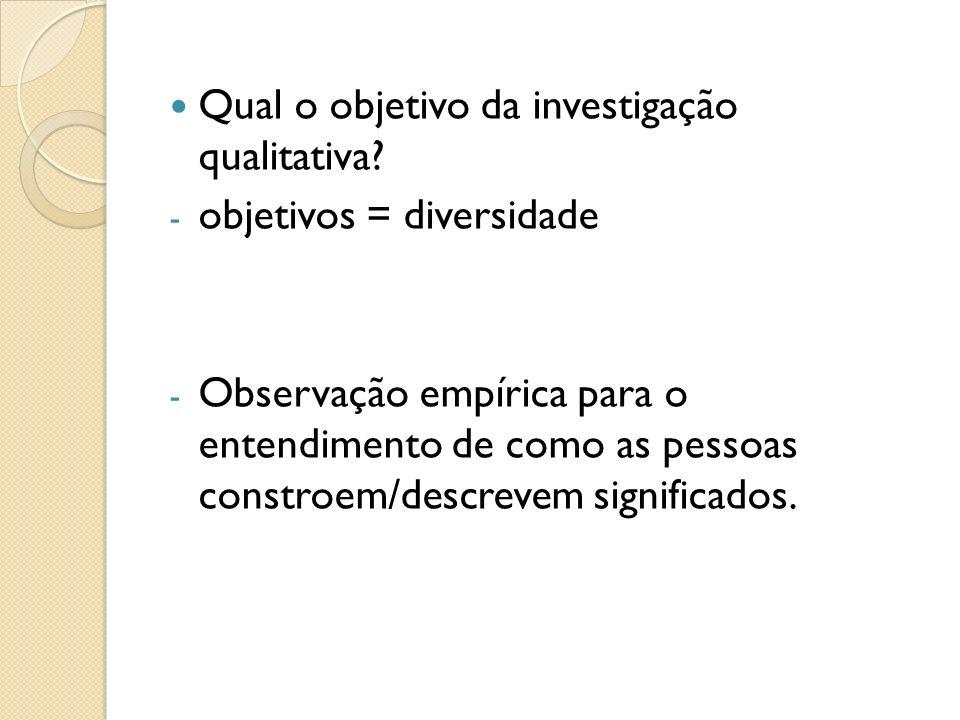 Qual o objetivo da investigação qualitativa