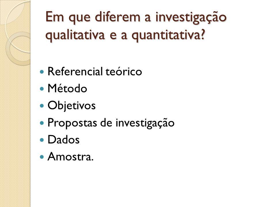Em que diferem a investigação qualitativa e a quantitativa