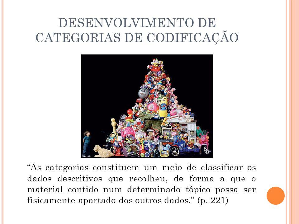 DESENVOLVIMENTO DE CATEGORIAS DE CODIFICAÇÃO