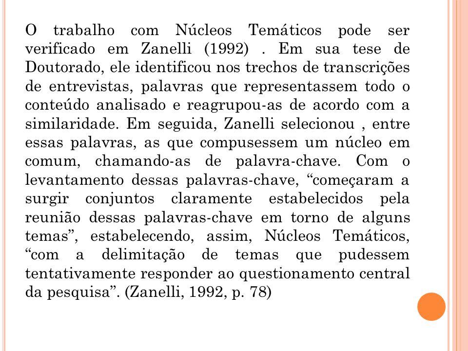 O trabalho com Núcleos Temáticos pode ser verificado em Zanelli (1992)