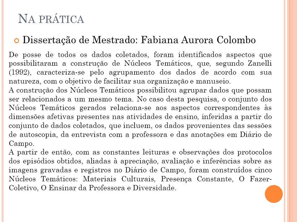 Na prática Dissertação de Mestrado: Fabiana Aurora Colombo