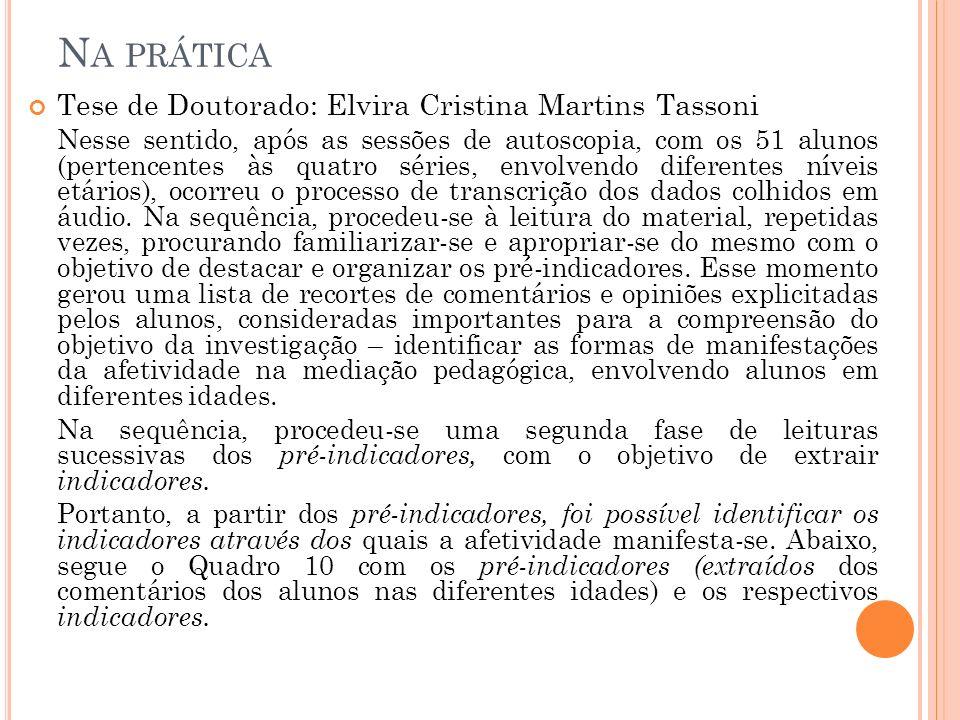 Na prática Tese de Doutorado: Elvira Cristina Martins Tassoni