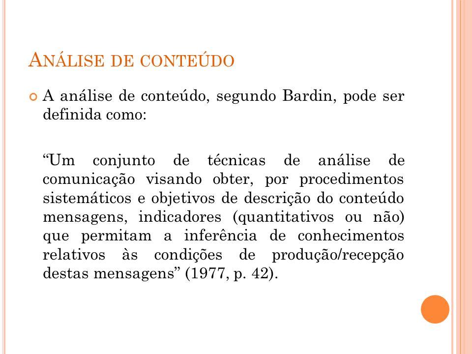 Análise de conteúdo A análise de conteúdo, segundo Bardin, pode ser definida como: