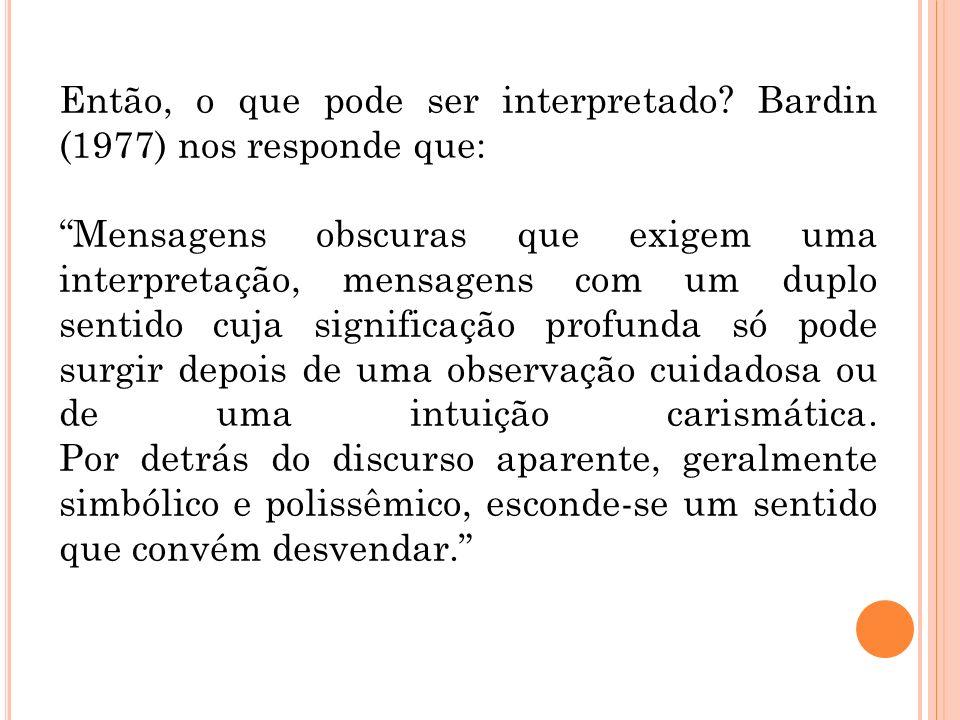 Então, o que pode ser interpretado Bardin (1977) nos responde que: