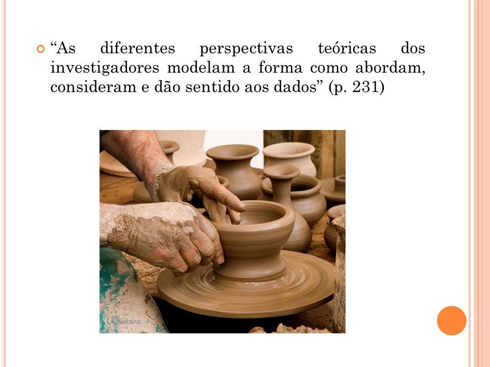 As diferentes perspectivas teóricas dos investigadores modelam a forma como abordam, consideram e dão sentido aos dados (p.