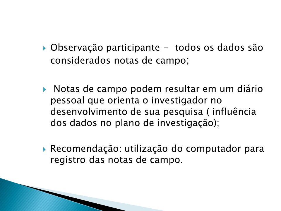 Observação participante - todos os dados são considerados notas de campo;