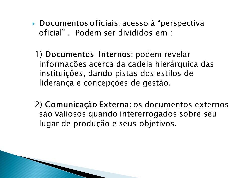 Documentos oficiais: acesso à perspectiva oficial