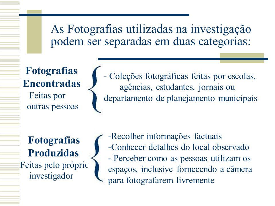 As Fotografias utilizadas na investigação podem ser separadas em duas categorias: