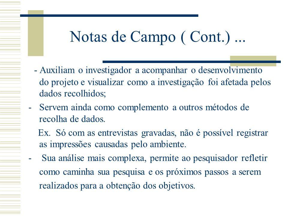 Notas de Campo ( Cont.) ...