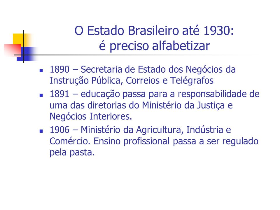 O Estado Brasileiro até 1930: é preciso alfabetizar