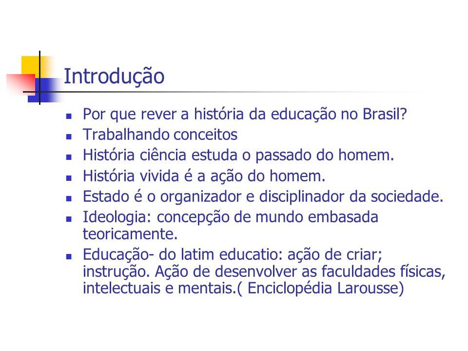 Introdução Por que rever a história da educação no Brasil