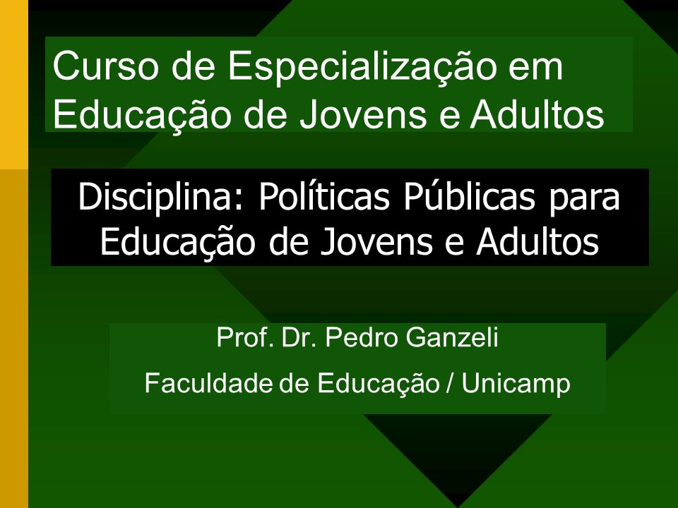 Curso de Especialização em Educação de Jovens e Adultos