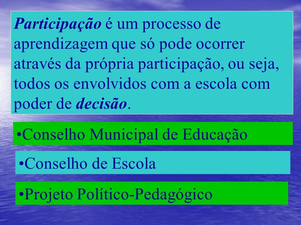 Participação é um processo de aprendizagem que só pode ocorrer através da própria participação, ou seja, todos os envolvidos com a escola com poder de decisão.