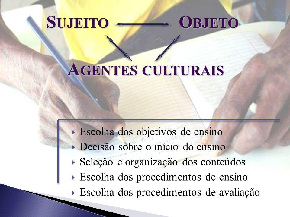 Sujeito Objeto Agentes culturais