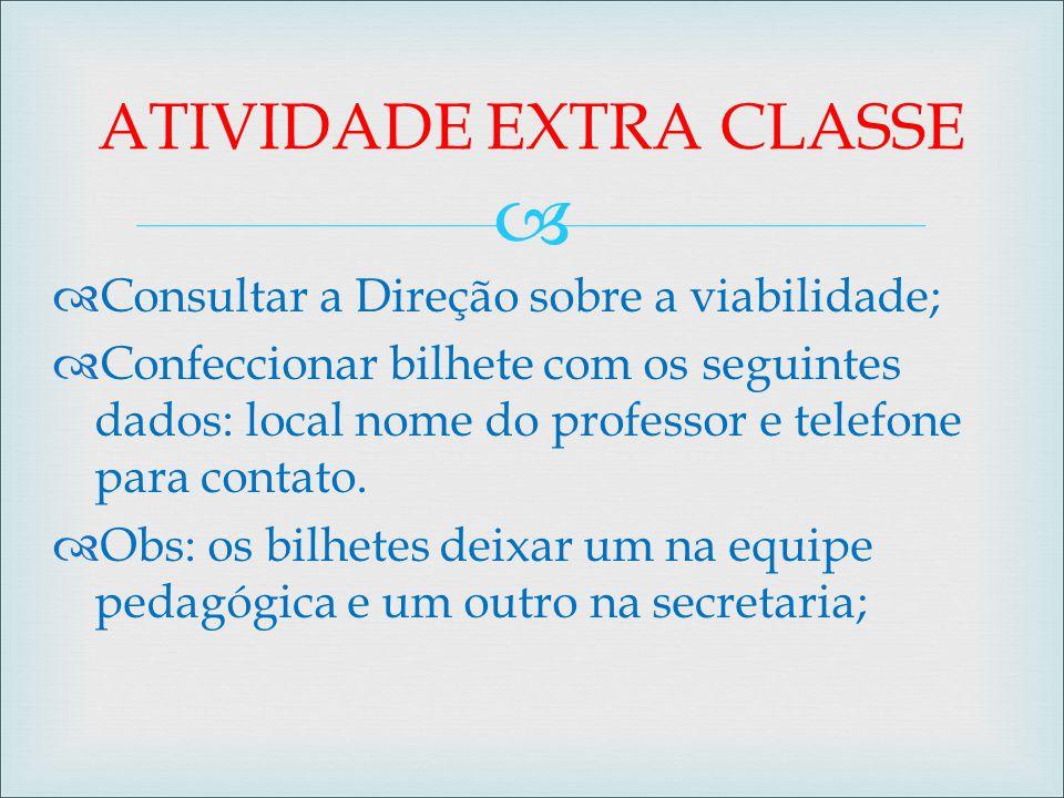 ATIVIDADE EXTRA CLASSE