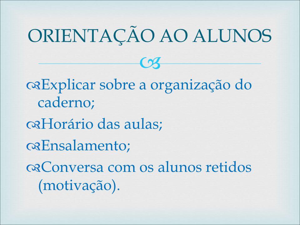 ORIENTAÇÃO AO ALUNOS Explicar sobre a organização do caderno;