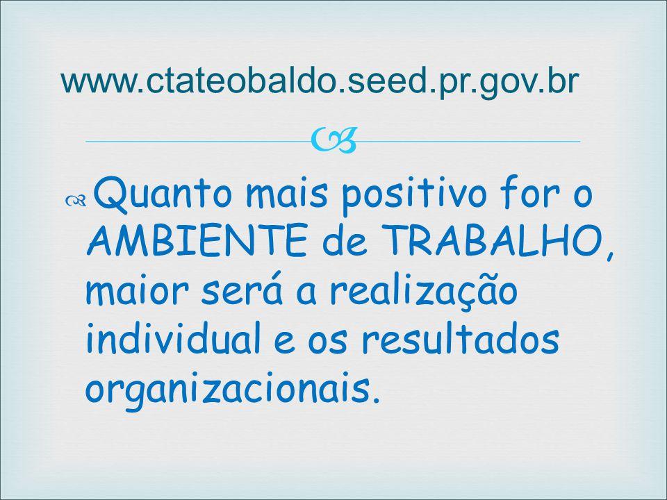 www.ctateobaldo.seed.pr.gov.br Quanto mais positivo for o AMBIENTE de TRABALHO, maior será a realização individual e os resultados organizacionais.