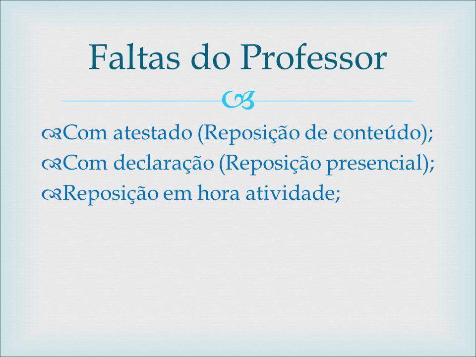 Faltas do Professor Com atestado (Reposição de conteúdo);