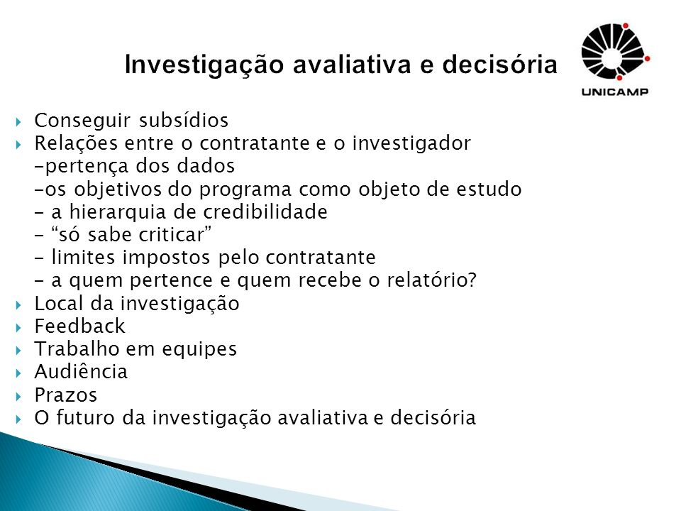 Investigação avaliativa e decisória