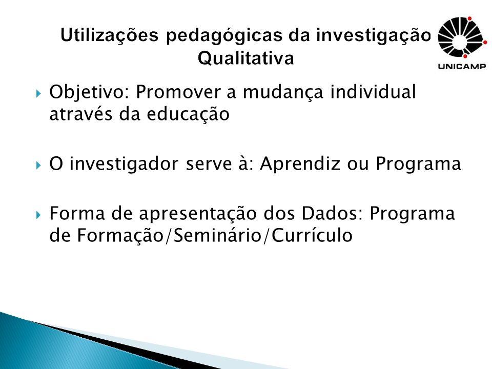 Utilizações pedagógicas da investigação Qualitativa