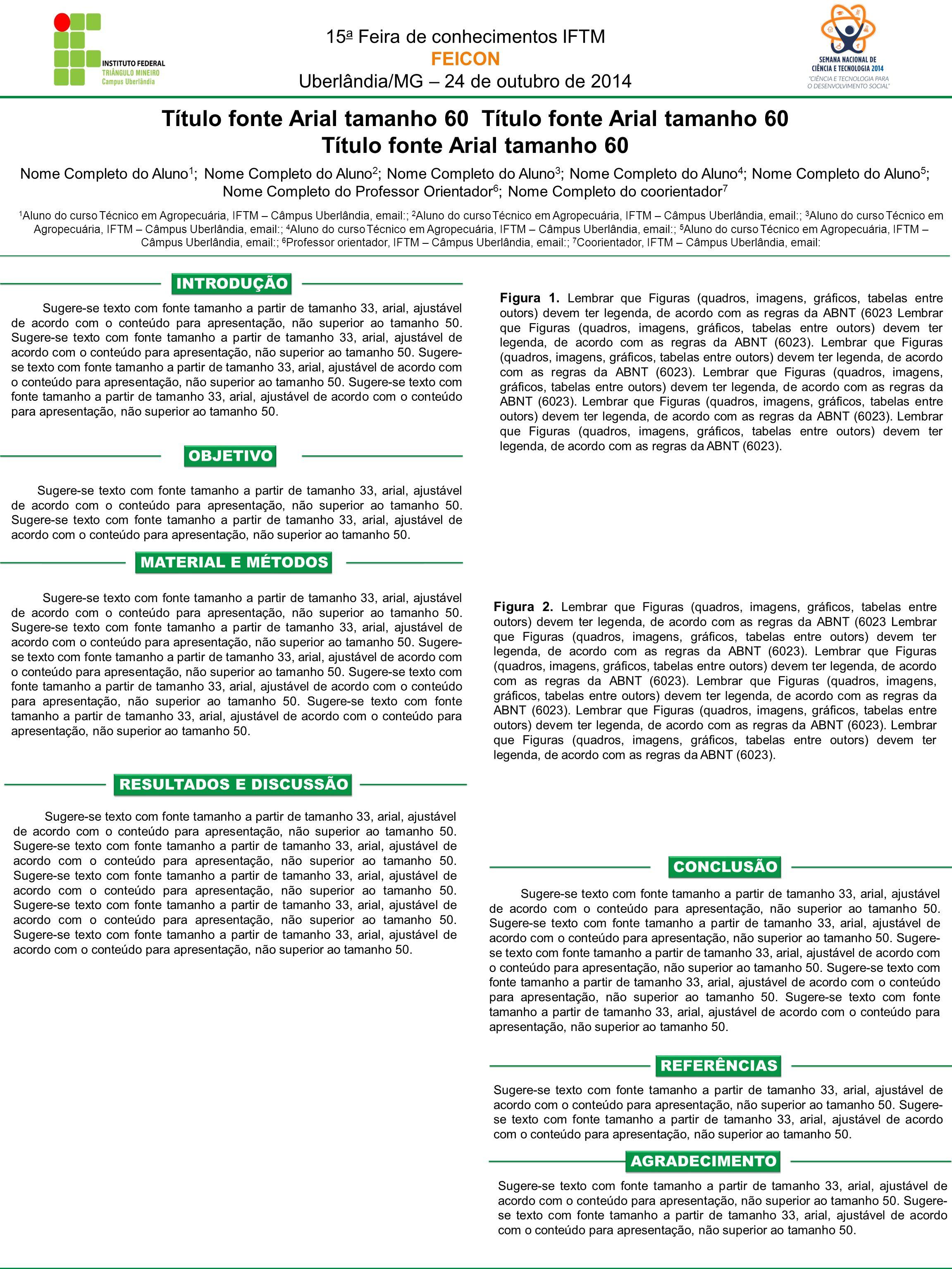 Título fonte Arial tamanho 60 Título fonte Arial tamanho 60