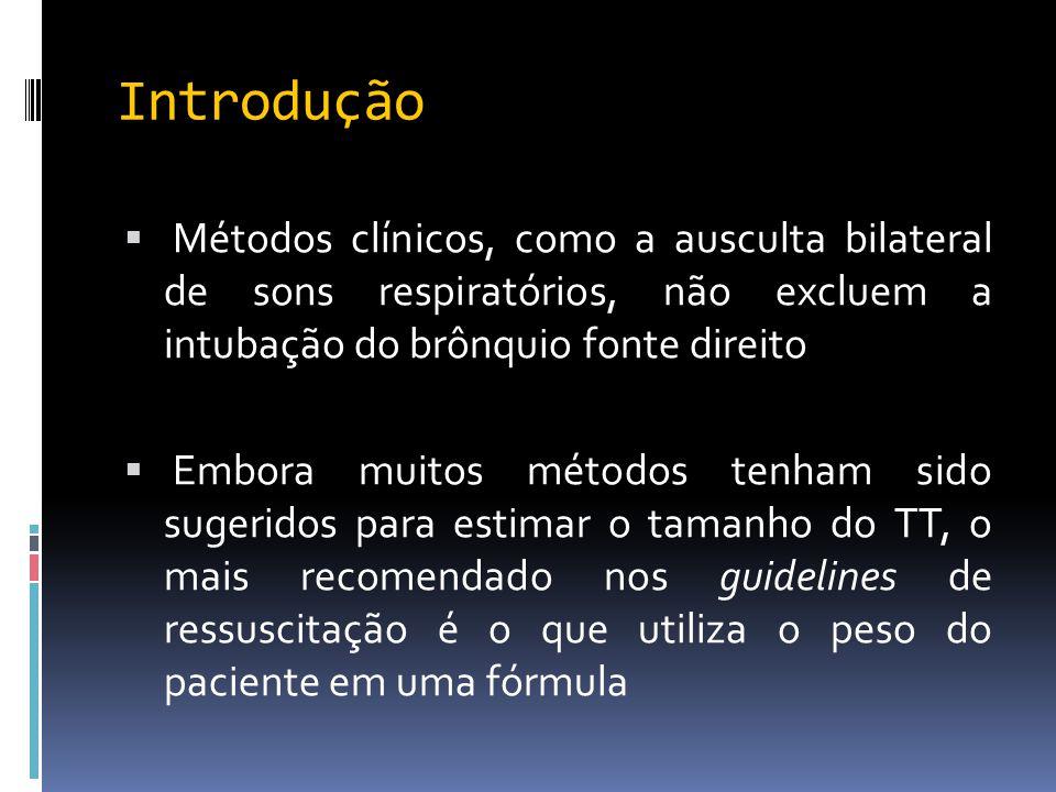 Introdução Métodos clínicos, como a ausculta bilateral de sons respiratórios, não excluem a intubação do brônquio fonte direito.