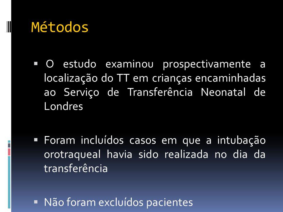 Métodos O estudo examinou prospectivamente a localização do TT em crianças encaminhadas ao Serviço de Transferência Neonatal de Londres.