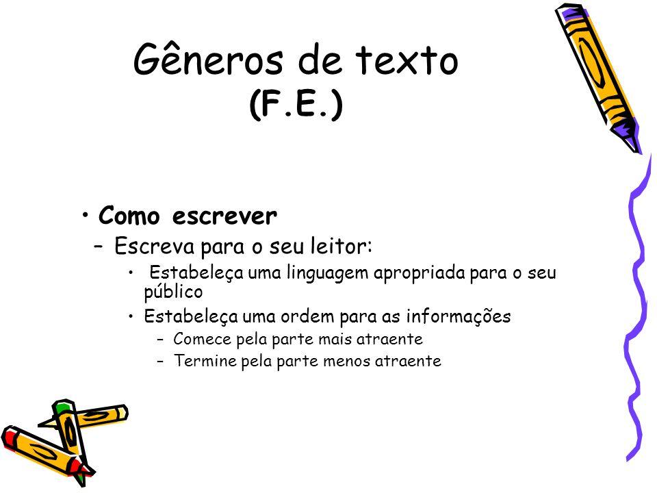 Gêneros de texto (F.E.) Como escrever Escreva para o seu leitor: