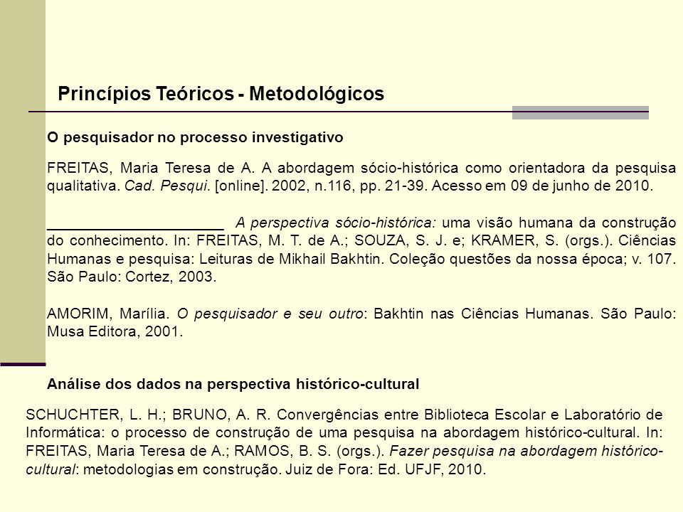 Princípios Teóricos - Metodológicos