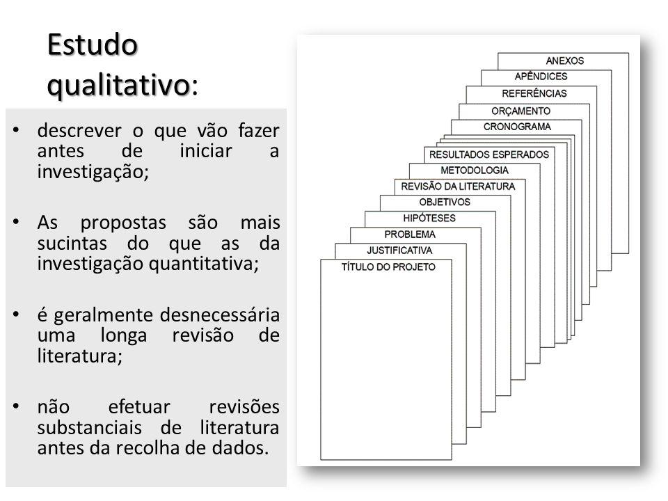 Estudo qualitativo: descrever o que vão fazer antes de iniciar a investigação;