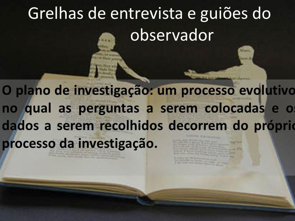 Grelhas de entrevista e guiões do observador