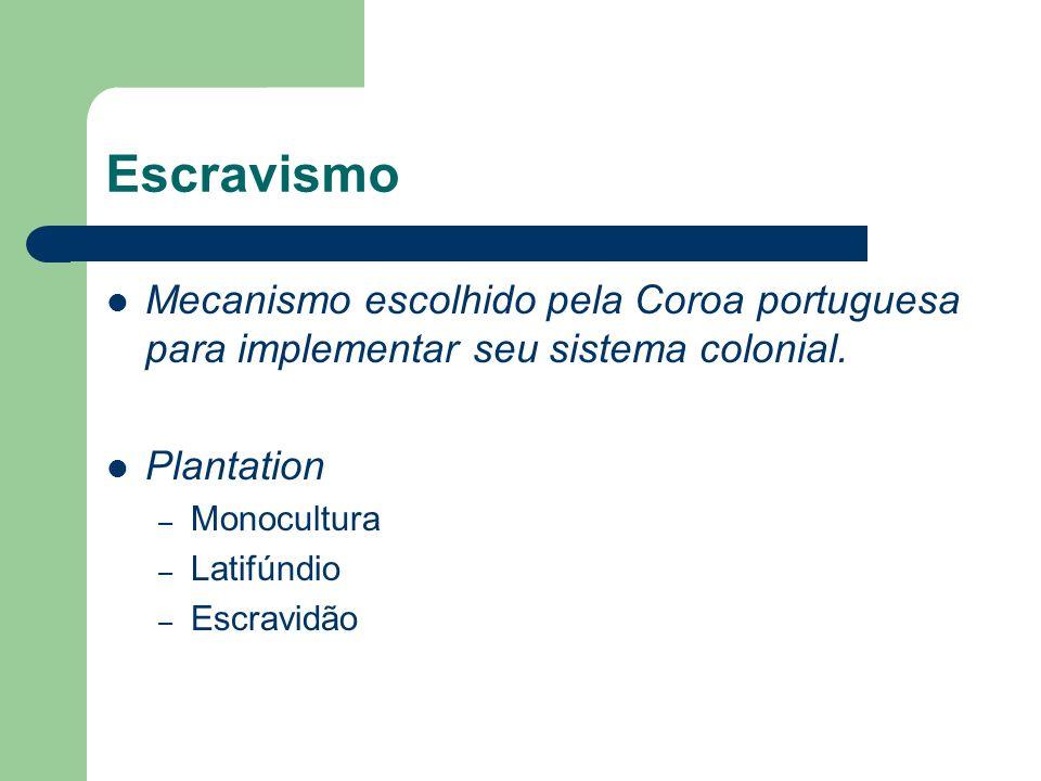 Escravismo Mecanismo escolhido pela Coroa portuguesa para implementar seu sistema colonial. Plantation.