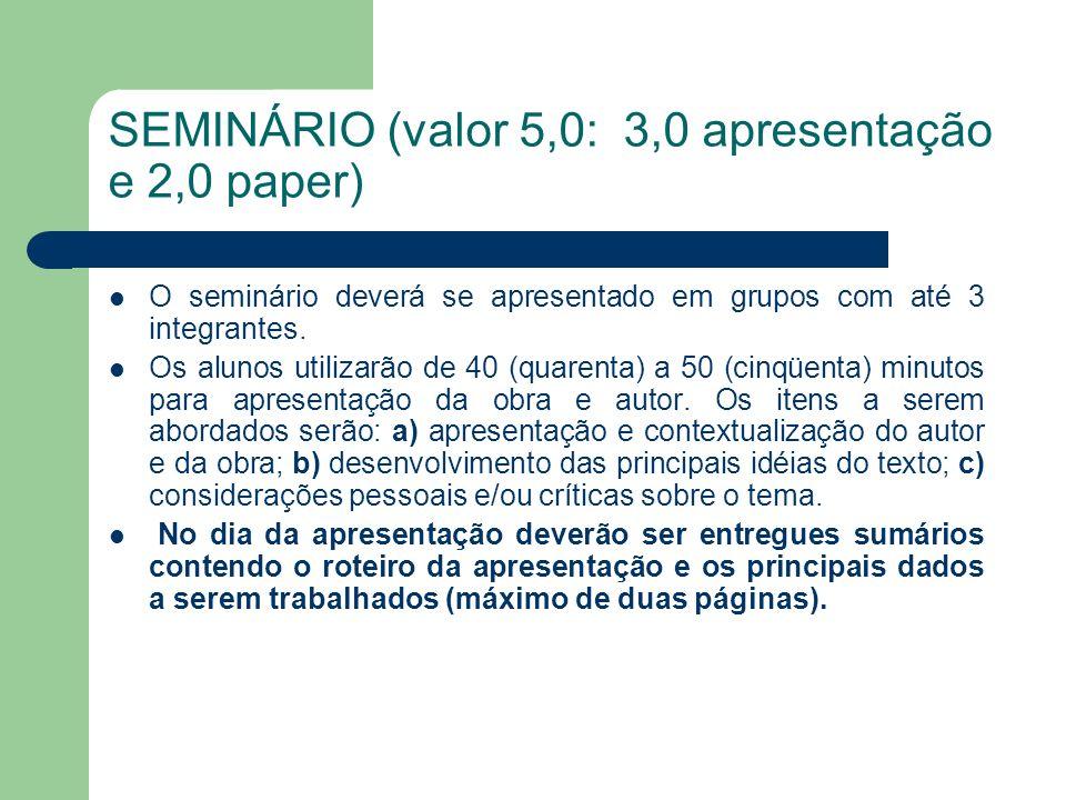 SEMINÁRIO (valor 5,0: 3,0 apresentação e 2,0 paper)