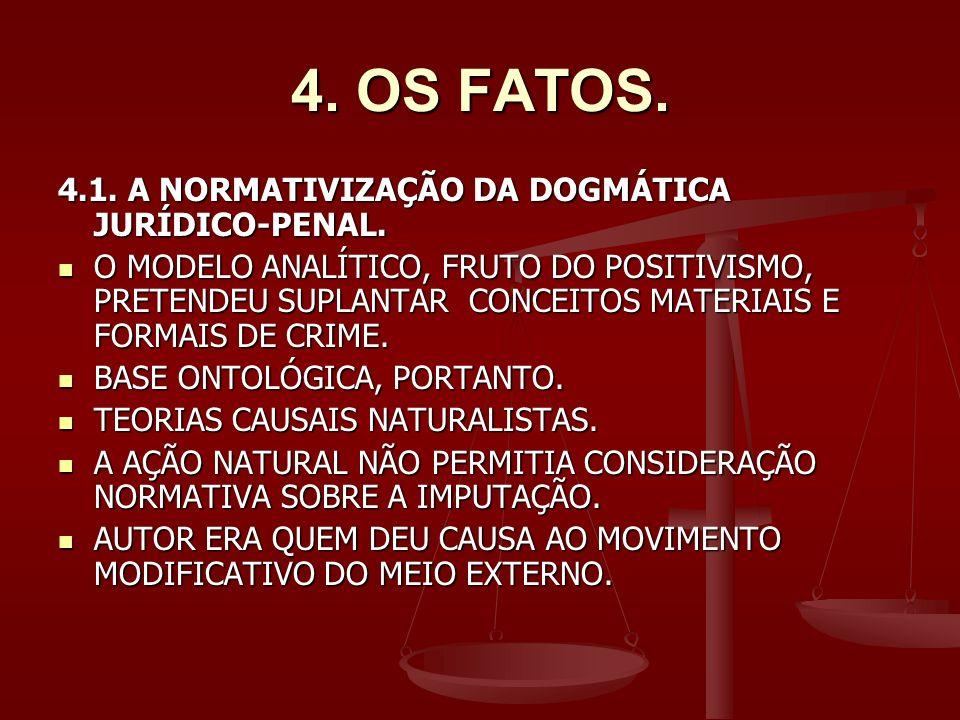 4. OS FATOS. 4.1. A NORMATIVIZAÇÃO DA DOGMÁTICA JURÍDICO-PENAL.