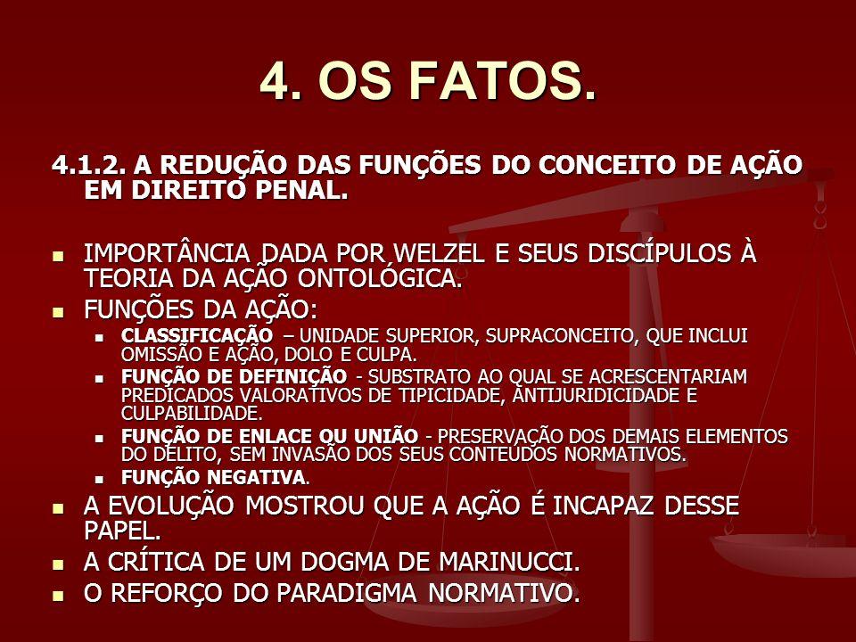 4. OS FATOS. 4.1.2. A REDUÇÃO DAS FUNÇÕES DO CONCEITO DE AÇÃO EM DIREITO PENAL.