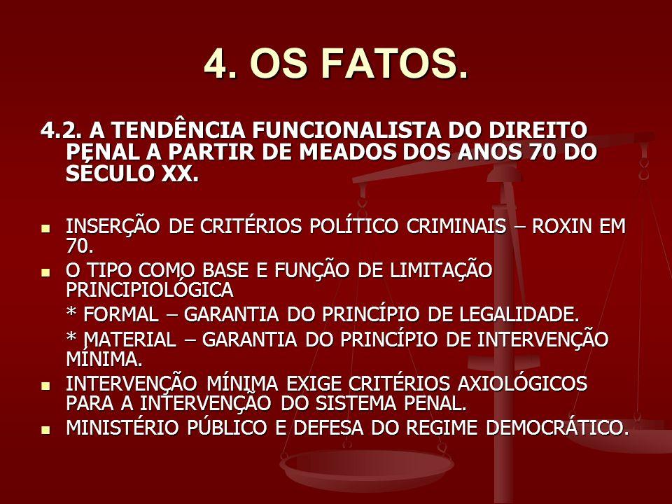 4. OS FATOS. 4.2. A TENDÊNCIA FUNCIONALISTA DO DIREITO PENAL A PARTIR DE MEADOS DOS ANOS 70 DO SÉCULO XX.