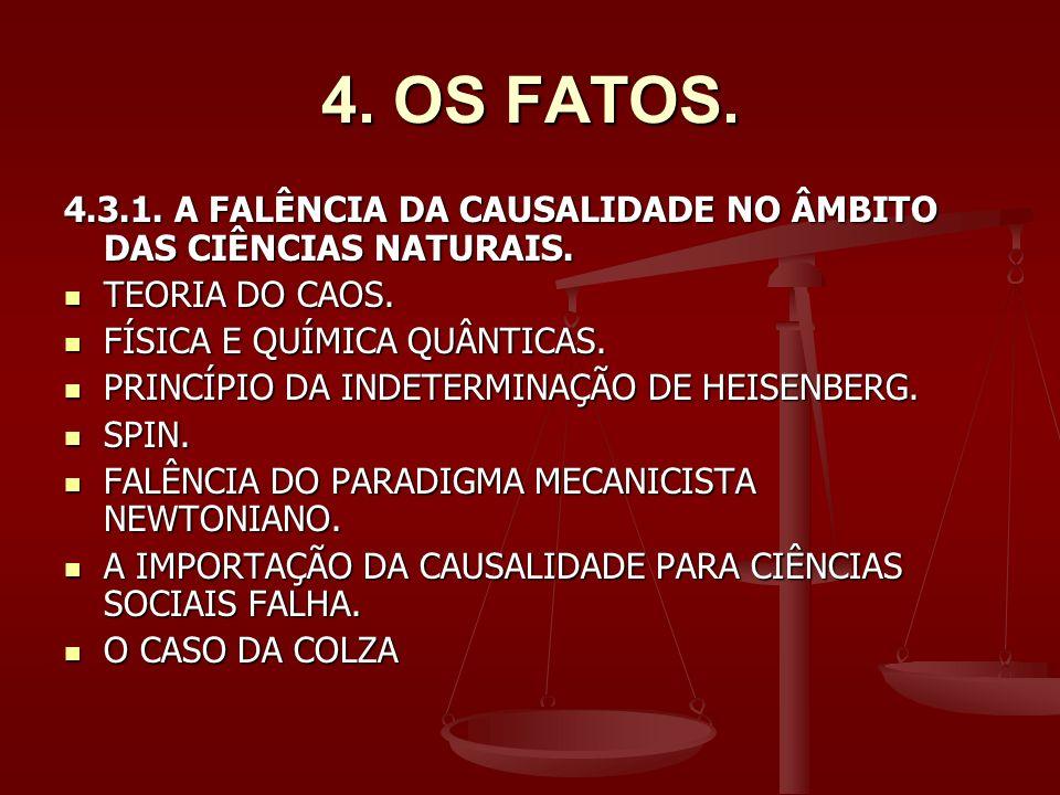 4. OS FATOS. 4.3.1. A FALÊNCIA DA CAUSALIDADE NO ÂMBITO DAS CIÊNCIAS NATURAIS. TEORIA DO CAOS. FÍSICA E QUÍMICA QUÂNTICAS.
