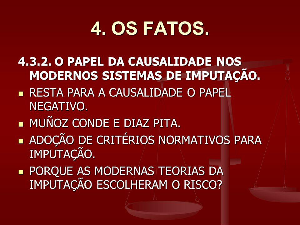 4. OS FATOS. 4.3.2. O PAPEL DA CAUSALIDADE NOS MODERNOS SISTEMAS DE IMPUTAÇÃO. RESTA PARA A CAUSALIDADE O PAPEL NEGATIVO.