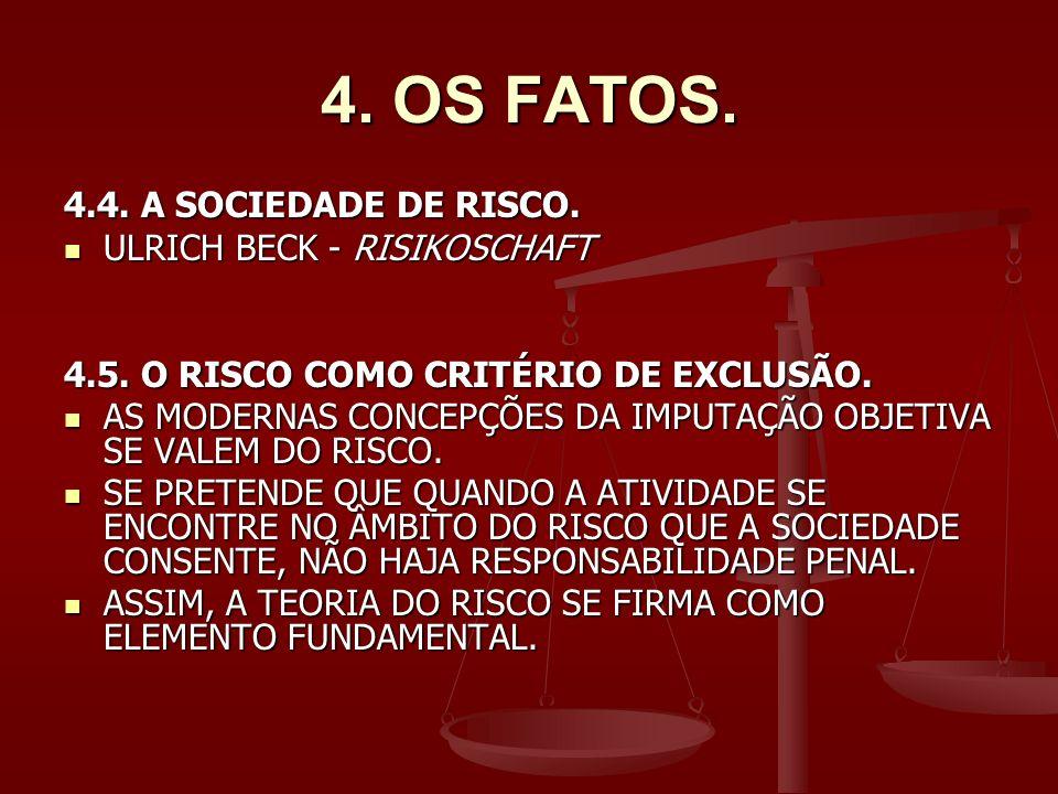 4. OS FATOS. 4.4. A SOCIEDADE DE RISCO. ULRICH BECK - RISIKOSCHAFT