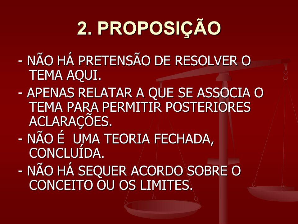 2. PROPOSIÇÃO - NÃO HÁ PRETENSÃO DE RESOLVER O TEMA AQUI.